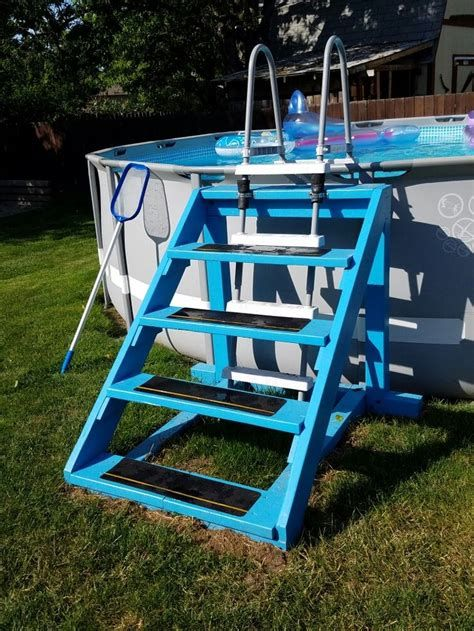 How To Install An Above Ground Pool Stairs Pool Ladder Diy Pool Above Ground Pool Landscaping