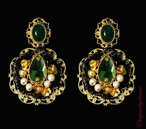 Green Baroque Dolce Earrings Swarovski Green Jade Nephrite Pearls 24k Gold Beads Chandelier Earrings by ElvieJewelryDreams