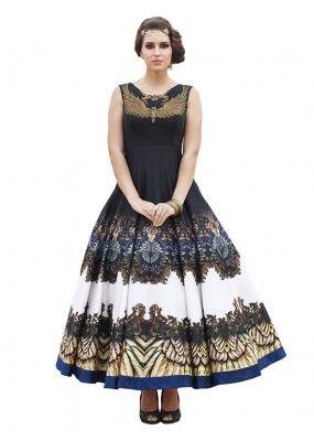 Party Wear Black Banglori Silk Gown - 71130