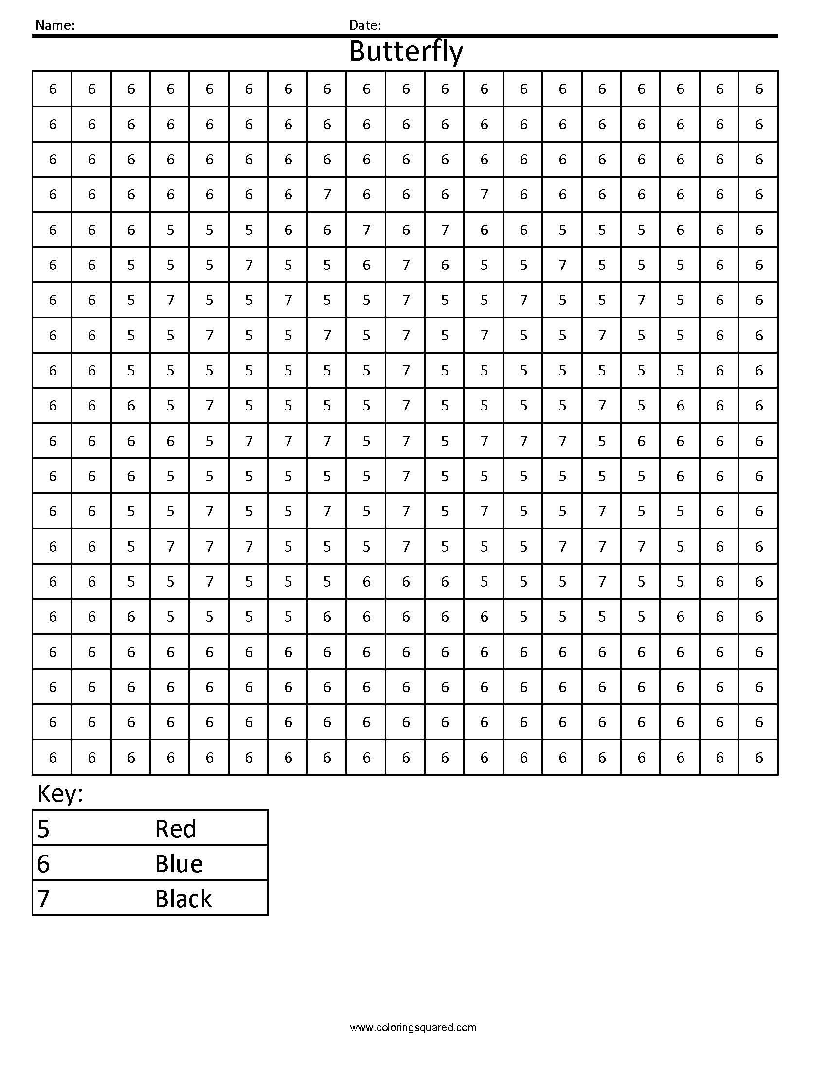 Colour By Number Grid