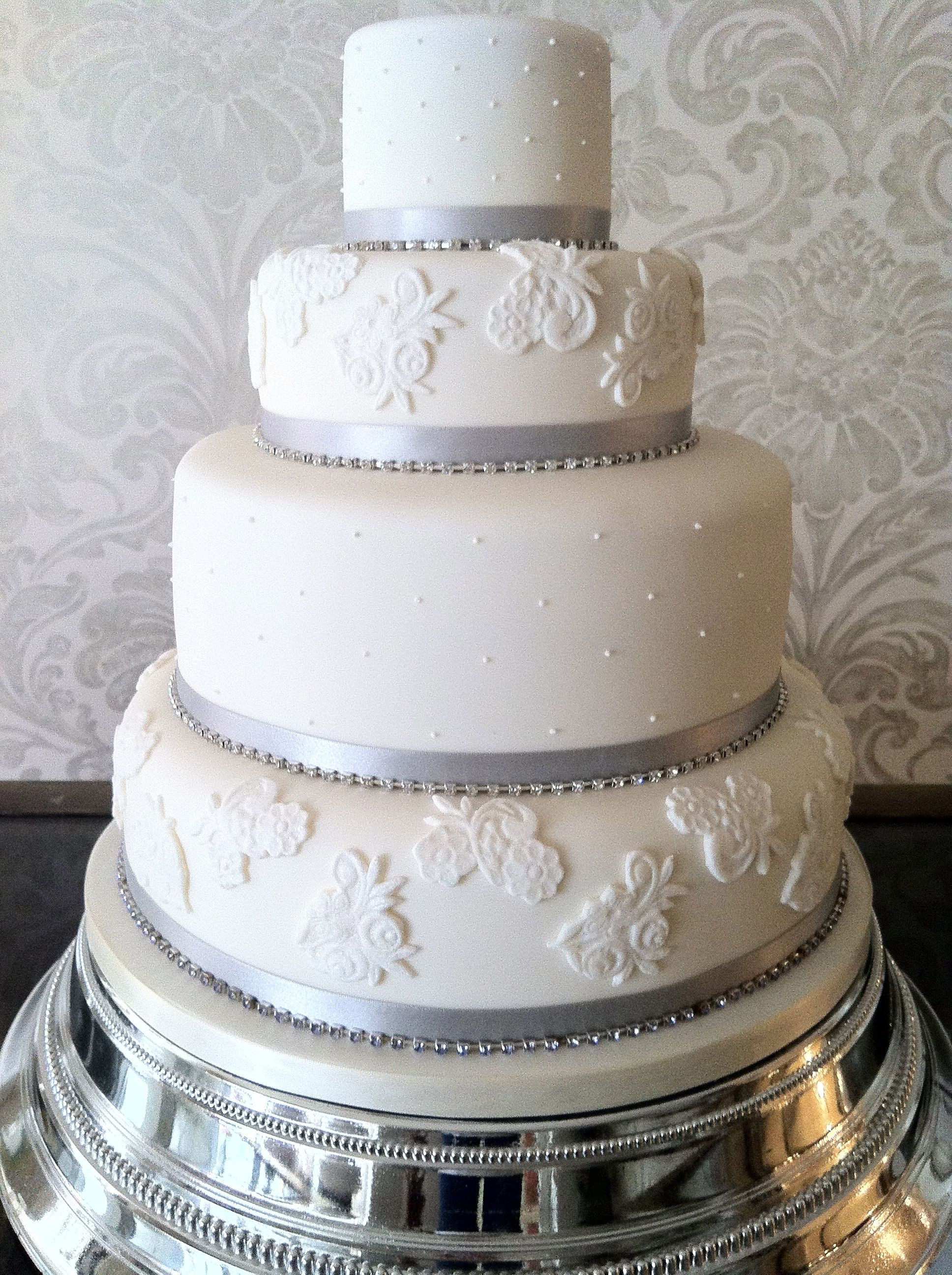 Steel And Ivory Diamante Wedding Cake
