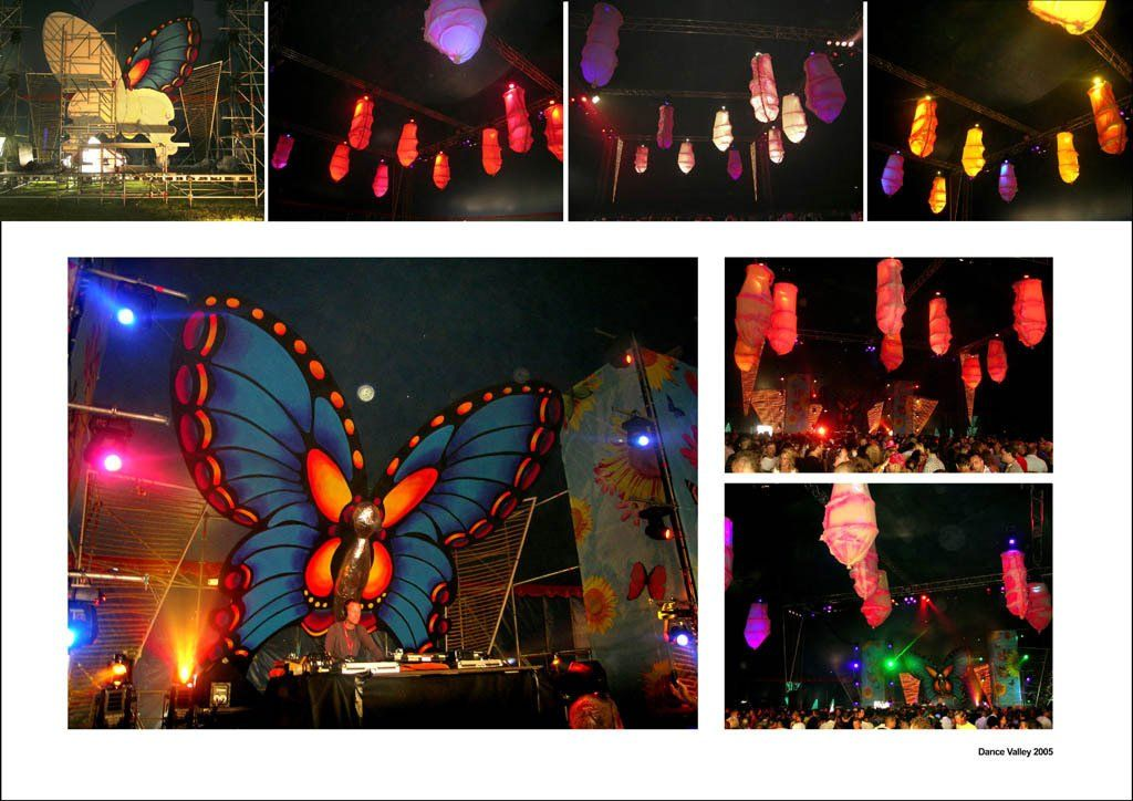 Butterfly stage and illuminated cocoons Thema