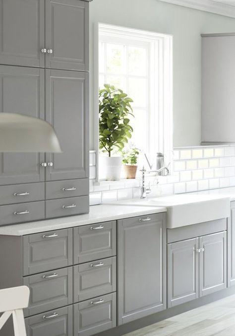 Bodbyn Ikea Kuche Grau 01 Kitchen Cabinet Design New Kitchen Cabinets Gray And White Kitchen