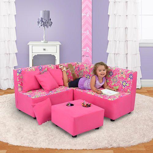 Kangaroo Kids Sectional Sofa Set - Daisy Doodle Pink - Kangaroo ...