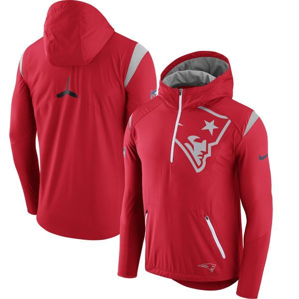 2afb7a7c1d Nike New England Patriots Red Sideline Fly Rush Half-Zip Pullover Jacket  patriots party