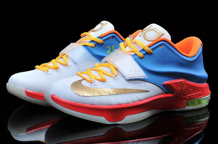 NIKE KD 7 EXT KEVIN DURANT WHITE RED GOLD 653997 980 $159