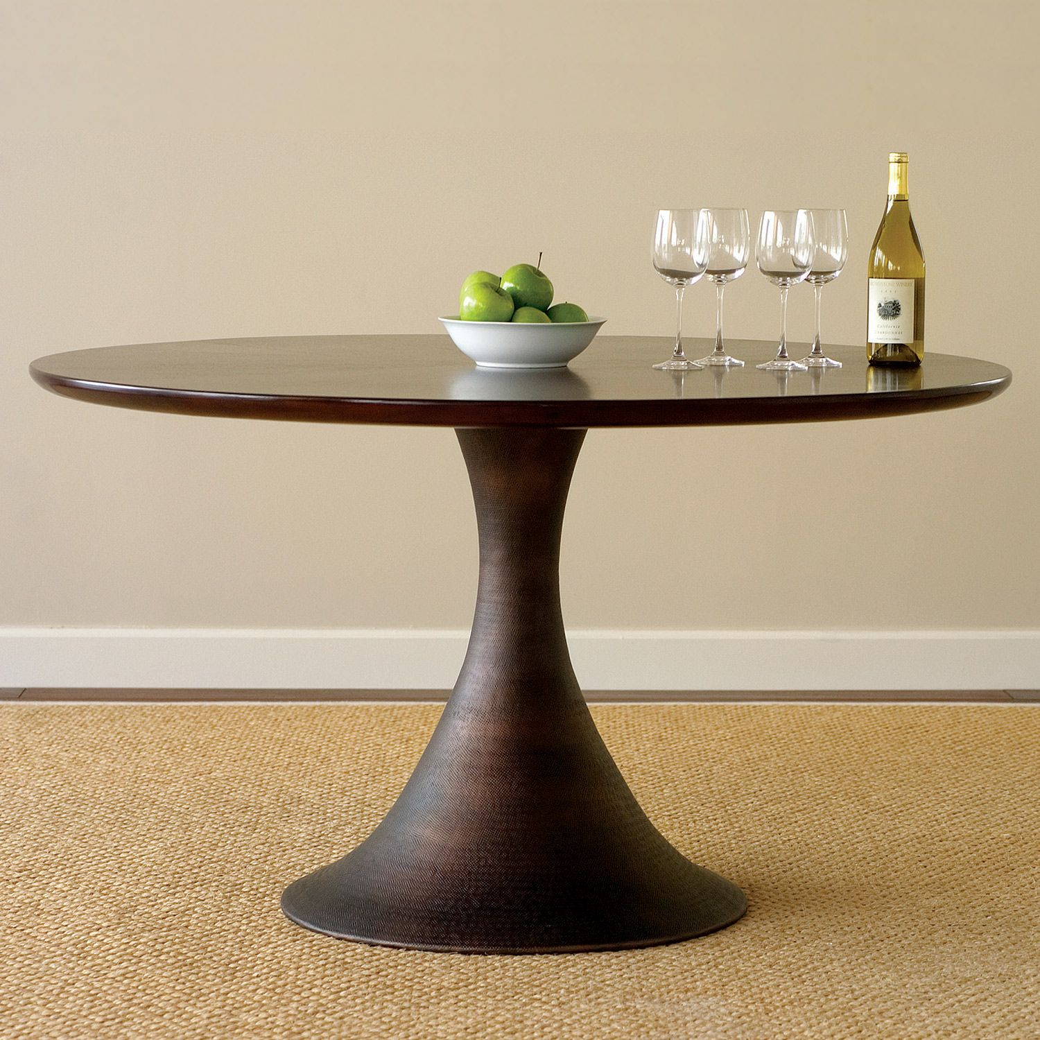 Saw Horse Legs Round Top Brownstone Karsten Dining Table