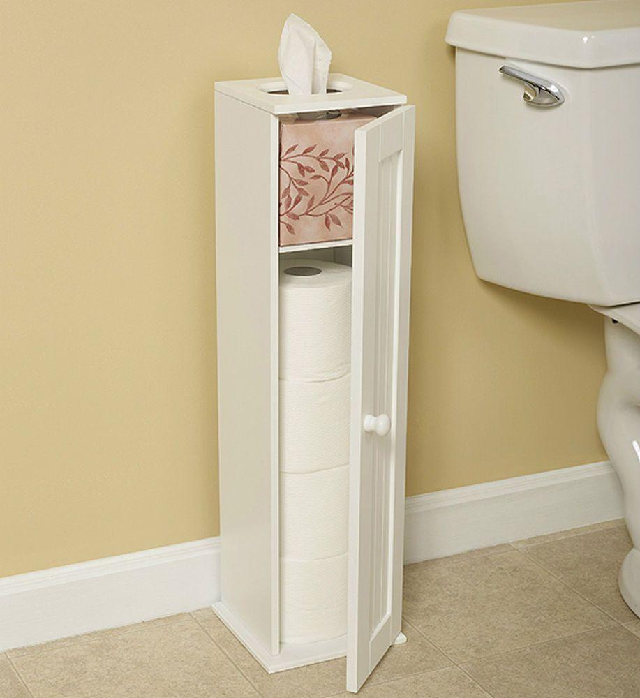 White Wood Cottage Toilet Tissue Paper Holder Cabinet Shelf Bath ...