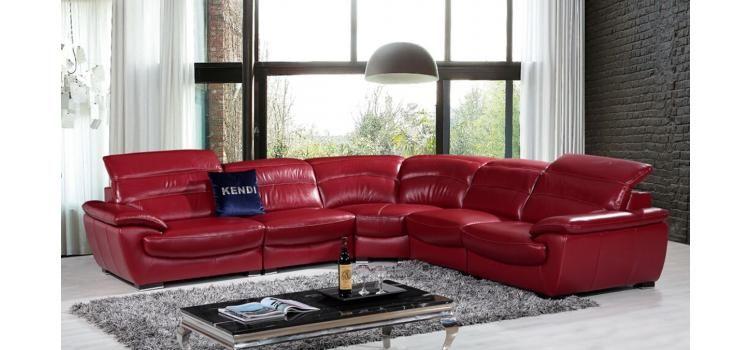 Divani Casa Hana Modern Red Leather Sectional Sofa Sofas