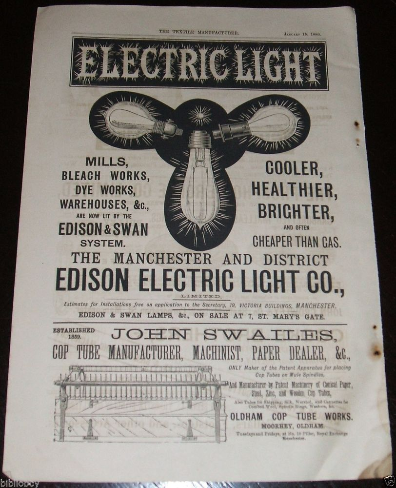 1886 Illustrated Advertisement for The Edison Electric