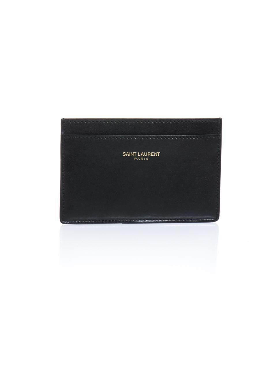 SAINT LAURENT - Leather card holder.