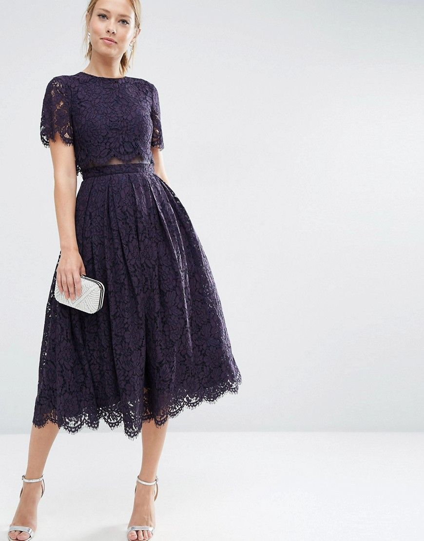 Image 4 of ASOS Lace Crop Top Midi Prom Dress | Wedding Guest ...