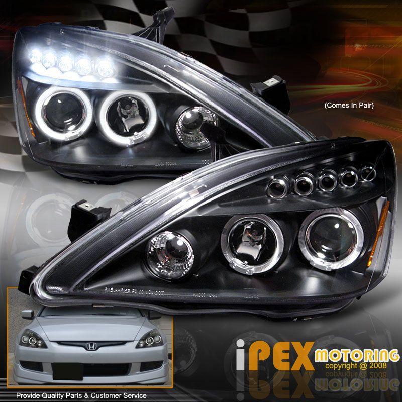 For 03 07 Honda Accord 2dr Coupe 4dr Sedan Halo Projector Led Headlights Black Honda Accord Honda Honda Accord Accessories