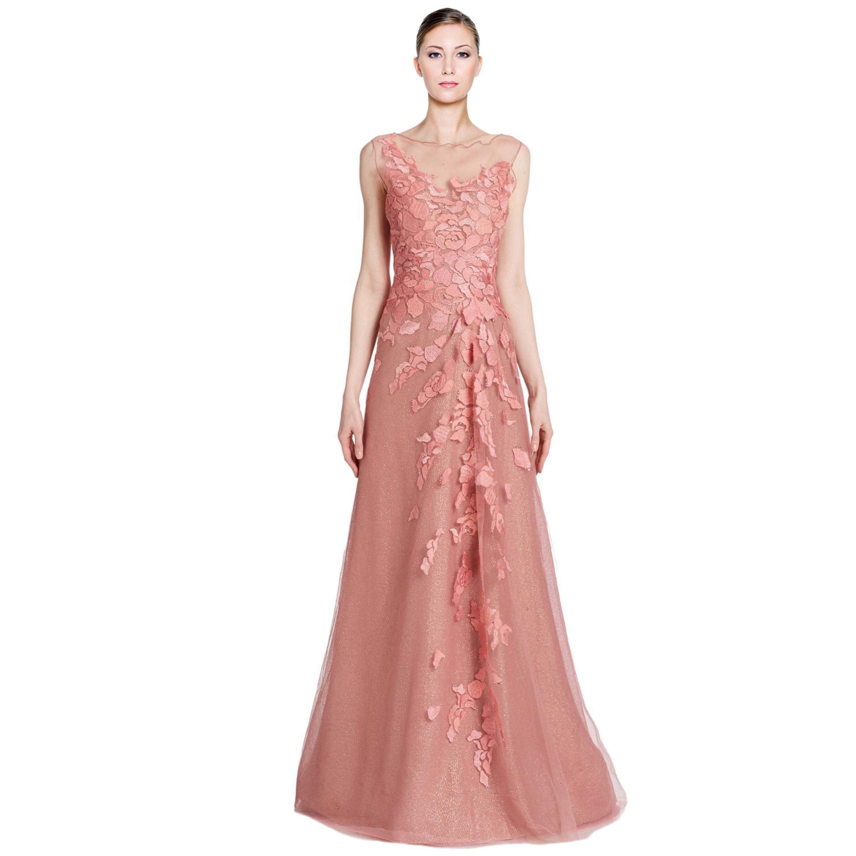 Rene Ruiz Floral Applique Illusion Neck Tulle Evening Gown Dress ...