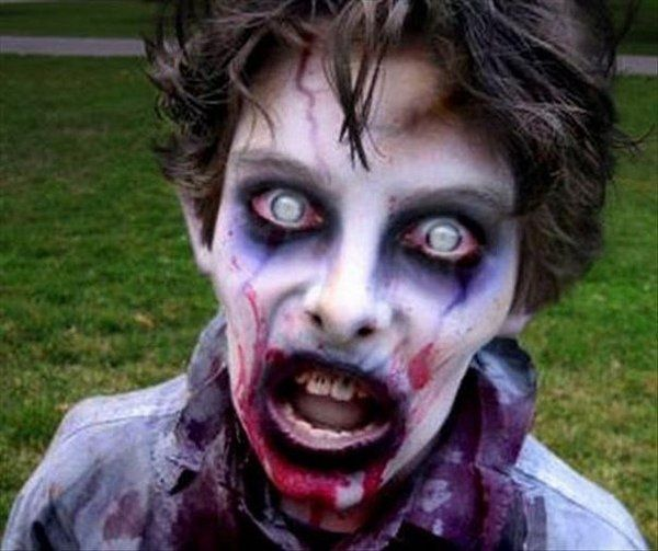 Best scary Halloween makeup ideas white contact lenses black ...