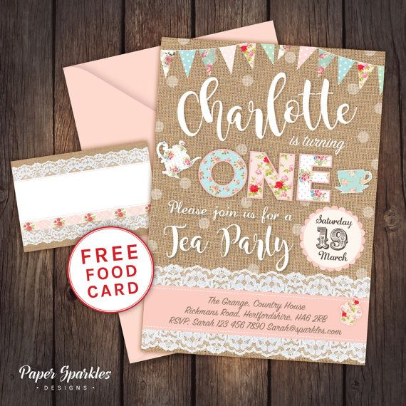 Tea party invitation, burlap floral invitation, First birthday ...