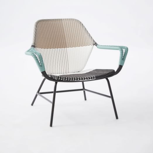 Phenomenal All Weather Wicker Colorblock Woven Outdoor Lounge Chair Squirreltailoven Fun Painted Chair Ideas Images Squirreltailovenorg