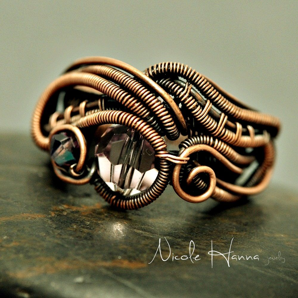 Nicole Hanna Jewelry | Wire Copper and Purple Crystal Abstract Ring ...