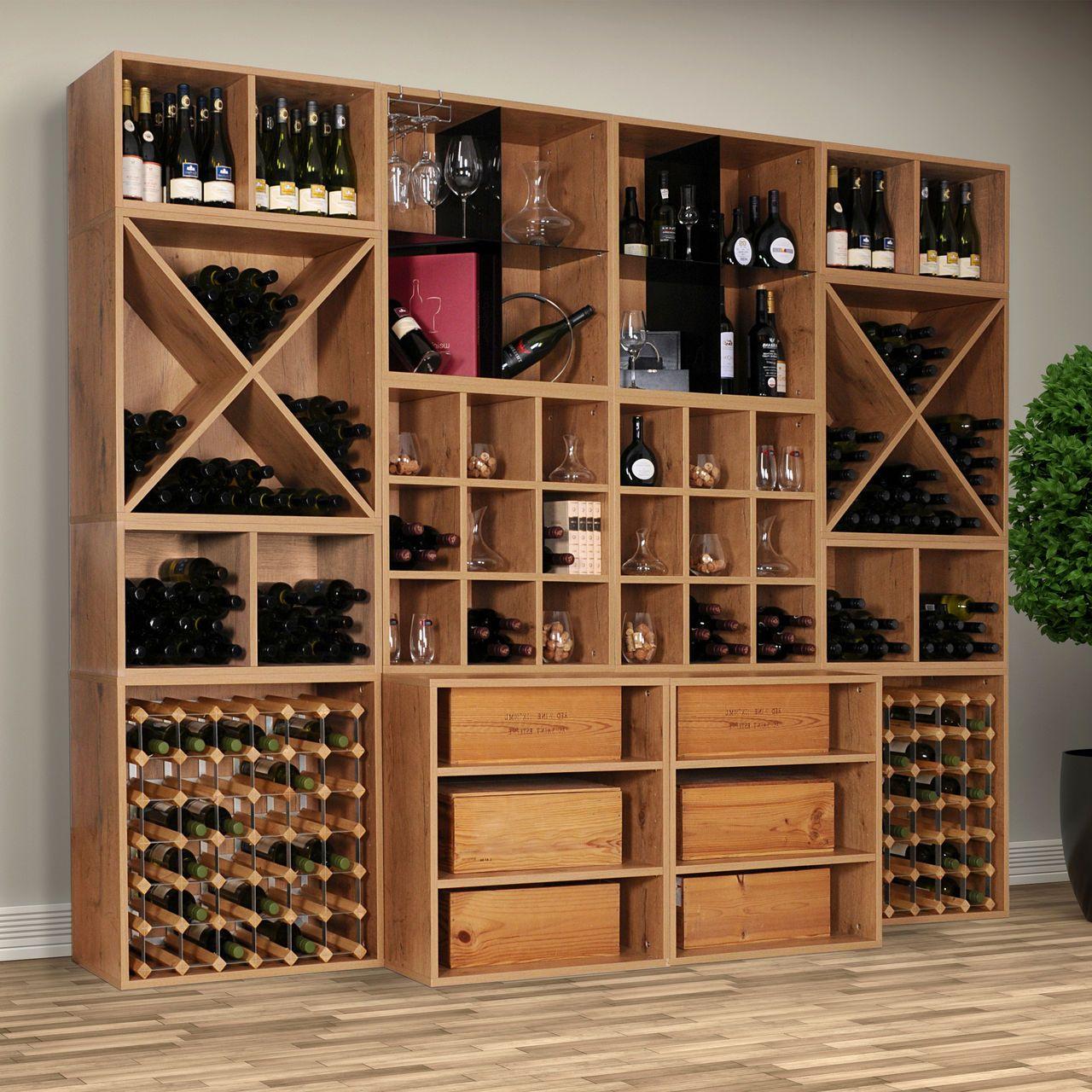 Weinregal Cavepro Aus Holz In Verschiedenen Modulen Für Weinflaschen Weinkisten Glässer Und Vieles Mehr