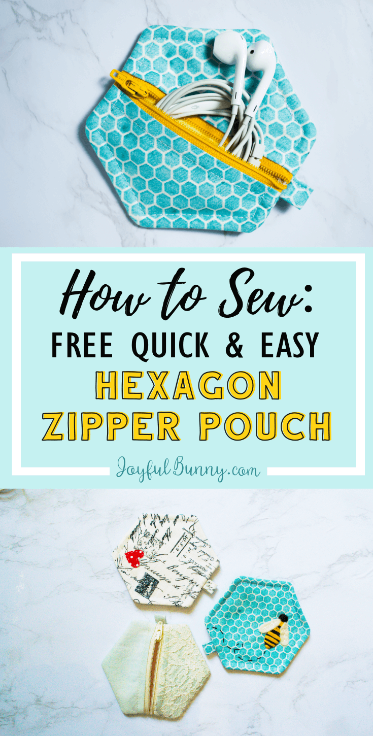 How to Sew: Free Quick & Easy Hexagon Zipper Pouch #beginnersewingprojects