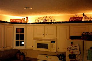 Using Rope Lighting To Light The Tops Of Cabinets In