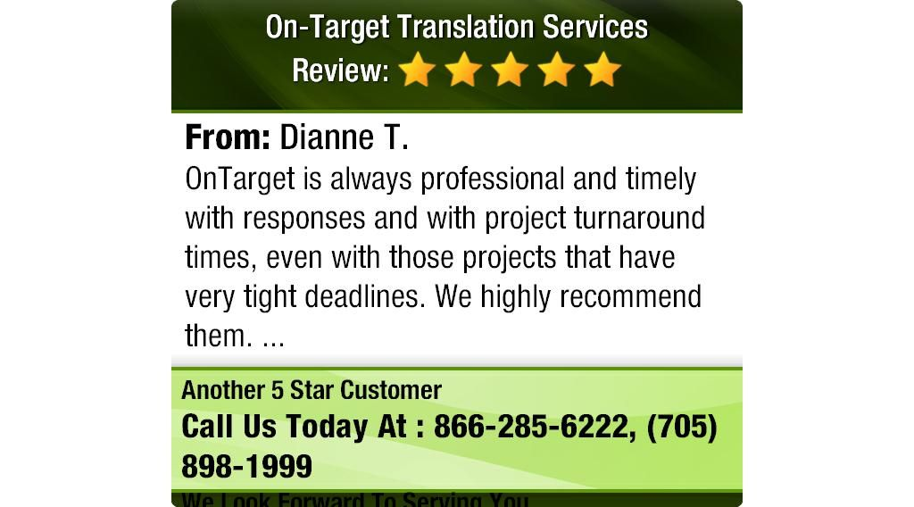 OnTarget is always professional and timely with responses and with project turnaround...