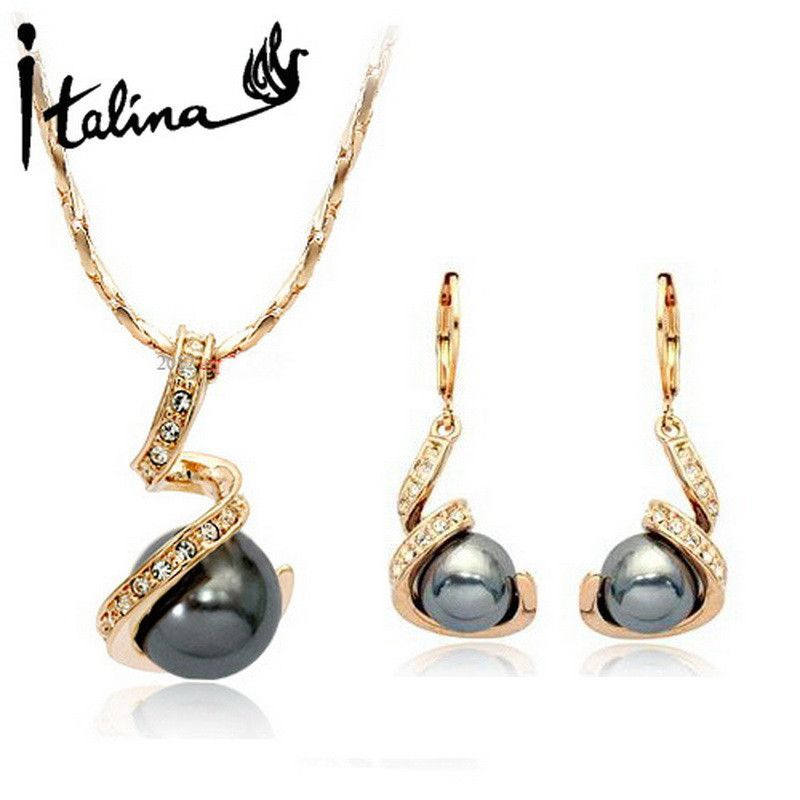 566a8e6cb Elegant 18K Rose Gold plated Spiral Jewelry Set With Austrian Crystal