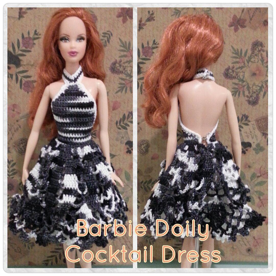 Barbie Doily Cocktail Dress (Free Crochet Pattern) | Barbie, Muñecas ...