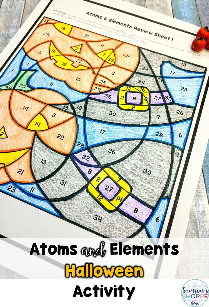 Atoms and Elements Halloween Color by Number Editable Review - new periodic table atomic mass protons