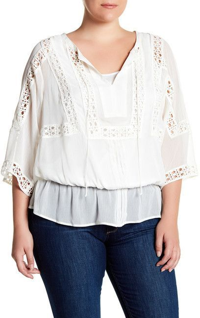 18782ce675485a DR2 by Daniel Rainn Eyelet Placket Front Blouse (Plus Size ...