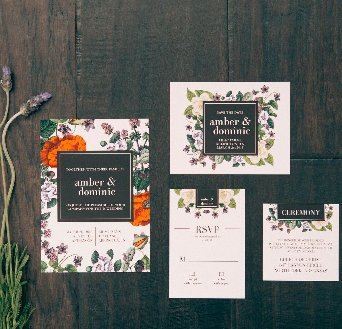 The Vintage Botanical Wedding Invitation The Vintage