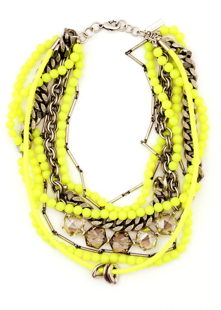 Neon yellow beads, oxidized silver chains and faux crystals | Lauren Elan Collections — Kensington