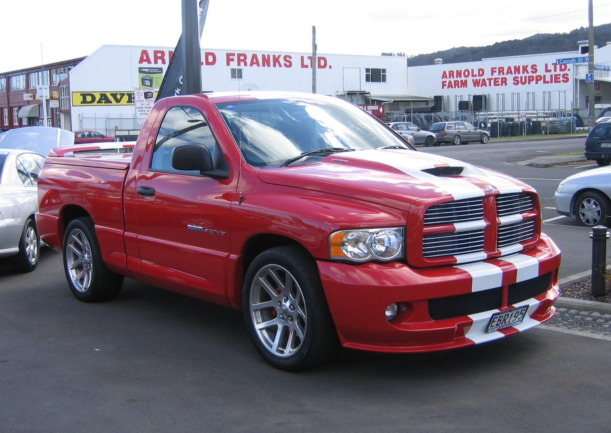 Red with white stripe Dodge Ram SRT 10 dodge ram