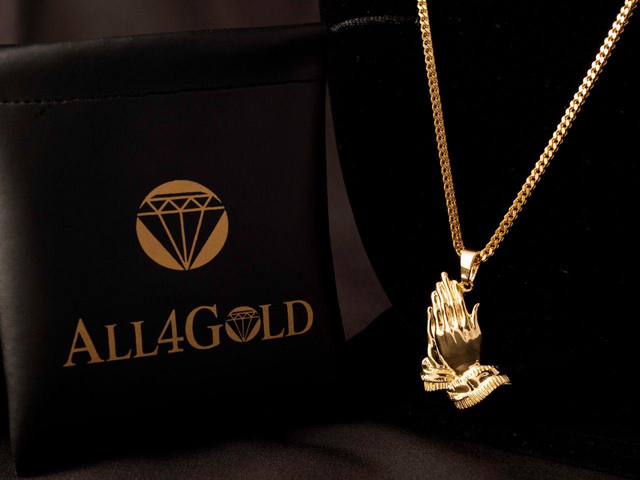 Praying hands charm necklace 18k gold praying hands pendant franco necklace aloadofball Choice Image