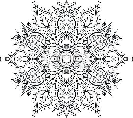 Fleur Mandala Elements De Decoration Vintage Motif Oriental Buchseiten Mandala Ausmalen Orientalische Muster