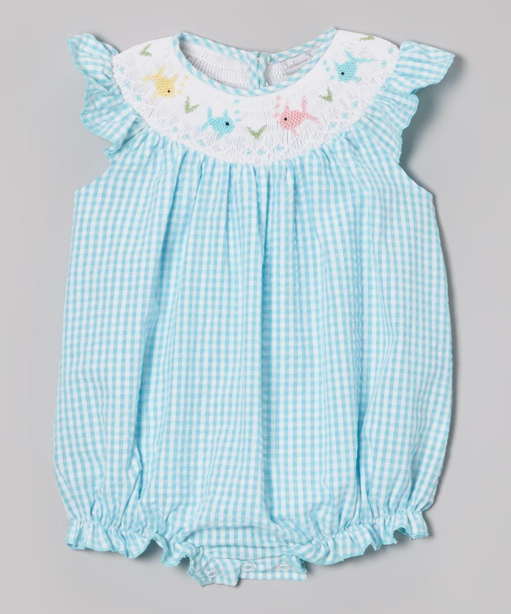c6ab9f8d6996 Love this Aqua Fish Smocked Bubble Bodysuit - Infant by Fantaisie Kids on   zulily!  zulilyfinds