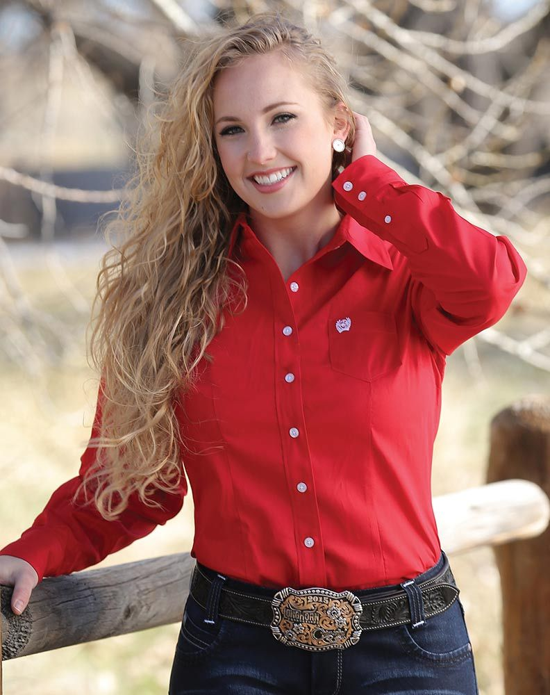 5c8488ef Cinch Women's Long Sleeve Solid Button Down Shirt - Red in 2019 ...