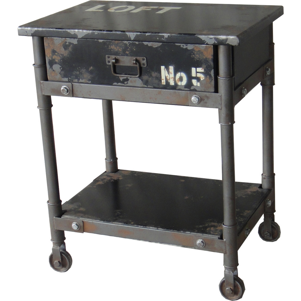 Soho 1 Drawer Cabinet / Accent Table in Distressed Black Iron w/ Industrial Graphics #dynamichome #industrial #distressed #metal #style #homedecor #interiordesign #storage