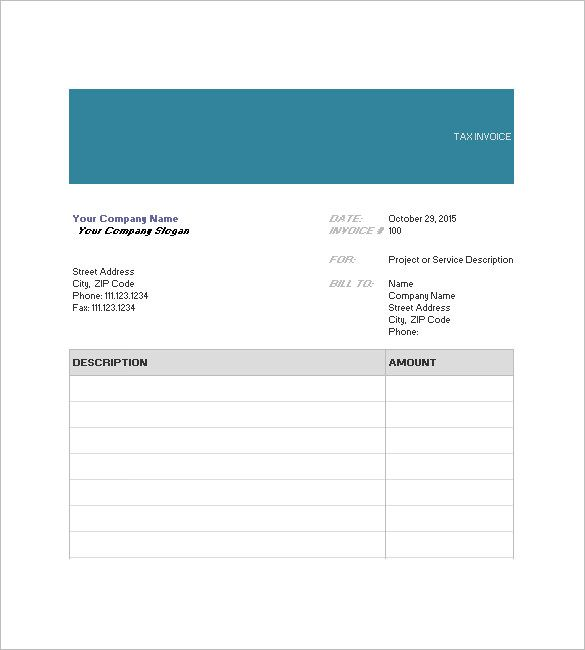 Invoice Templates Word 10 Tax Invoice Templates  Word Excel & Pdf Templates  Www .
