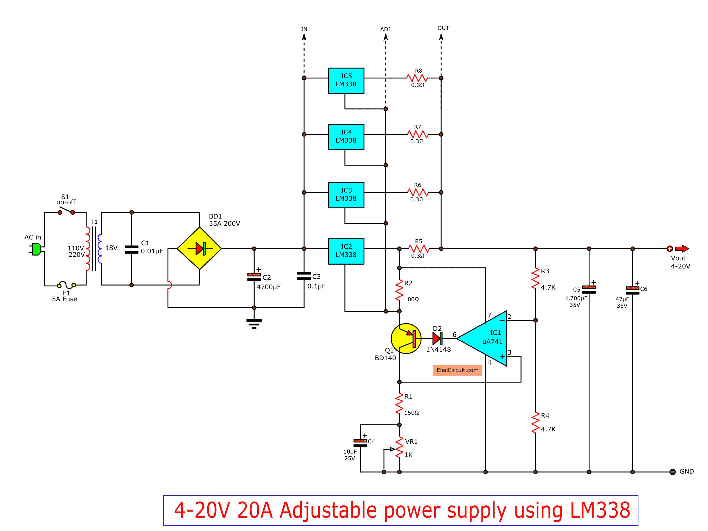 High Current Adjustable Voltage Regulator Circuit 0 30v 20a Power Supply Circuit Circuit Diagram Voltage Regulator