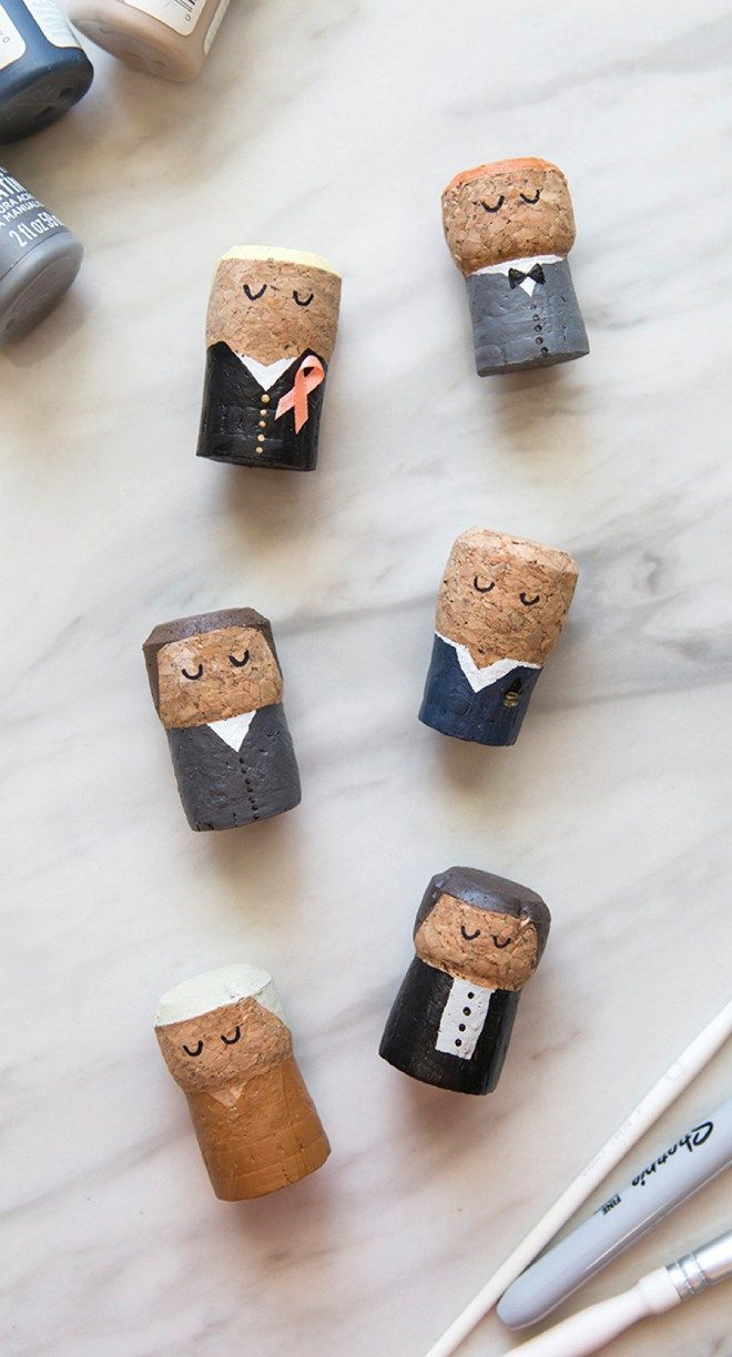You HAVE To See These DIY, Painted Champagne Cork Bride + Groom ...