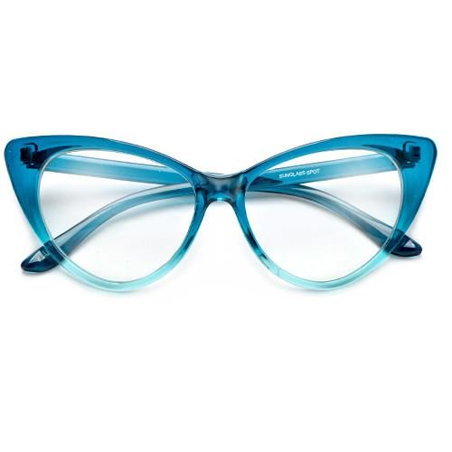 Photo of Colorful Ombre Super Cateyes Vintage Inspired Fashion Mod Chic High Pointed Clear Lens Eye Wear Glasses