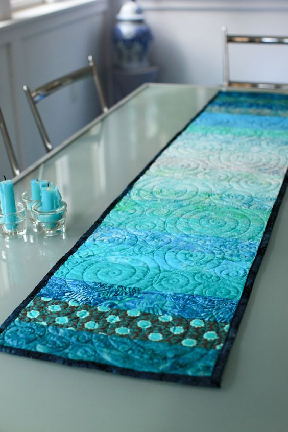 Turquoise Aqua Blue Green Table Cloth Candles Quilt