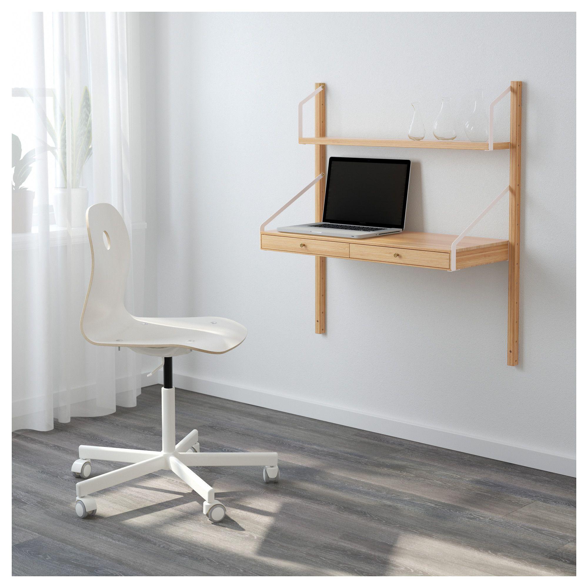 Ikea Svalnas Wall Mounted Workspace Combination Bamboo Desks
