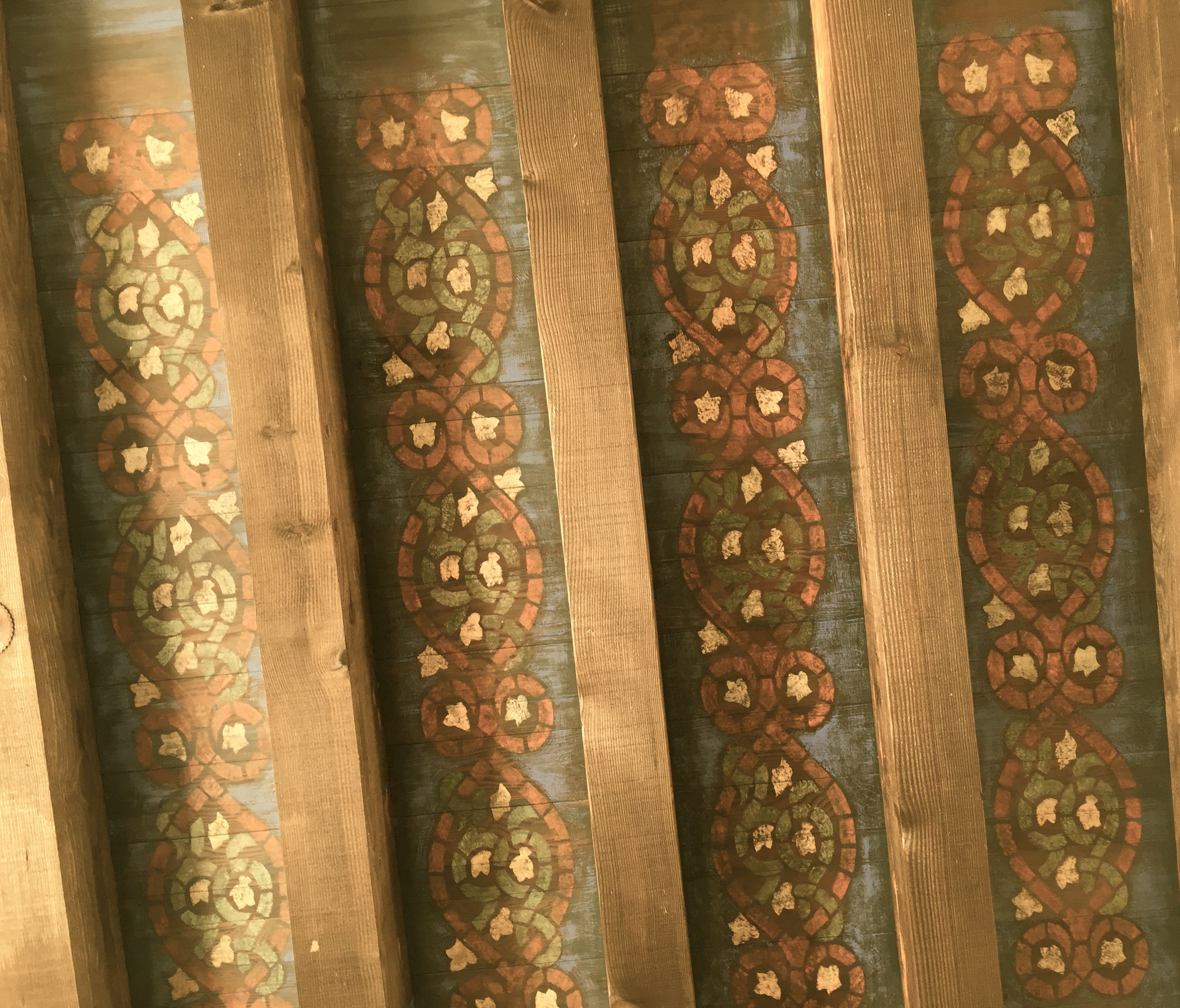 Rustic Spanish Style Stenciled Wood Beamed Ceiling Wood Beam