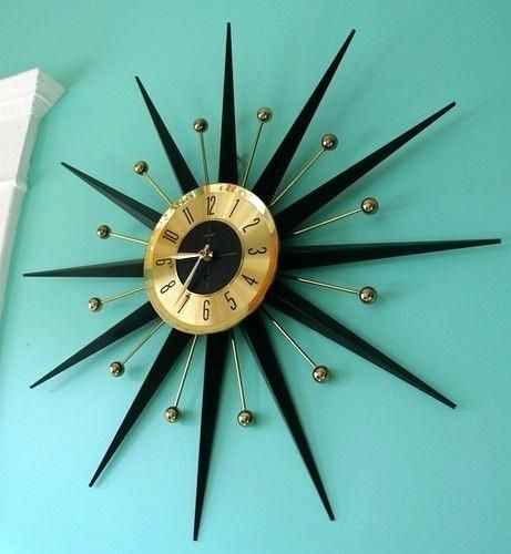 Vintage Starburst Wall Clock For Sale Starburst Wall Clock Silver Id