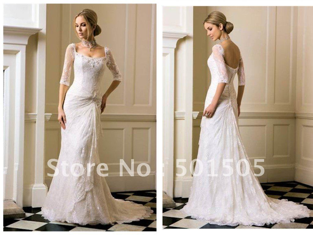 Wholesale lace sleeved fitted wedding dress three quarter sleeve