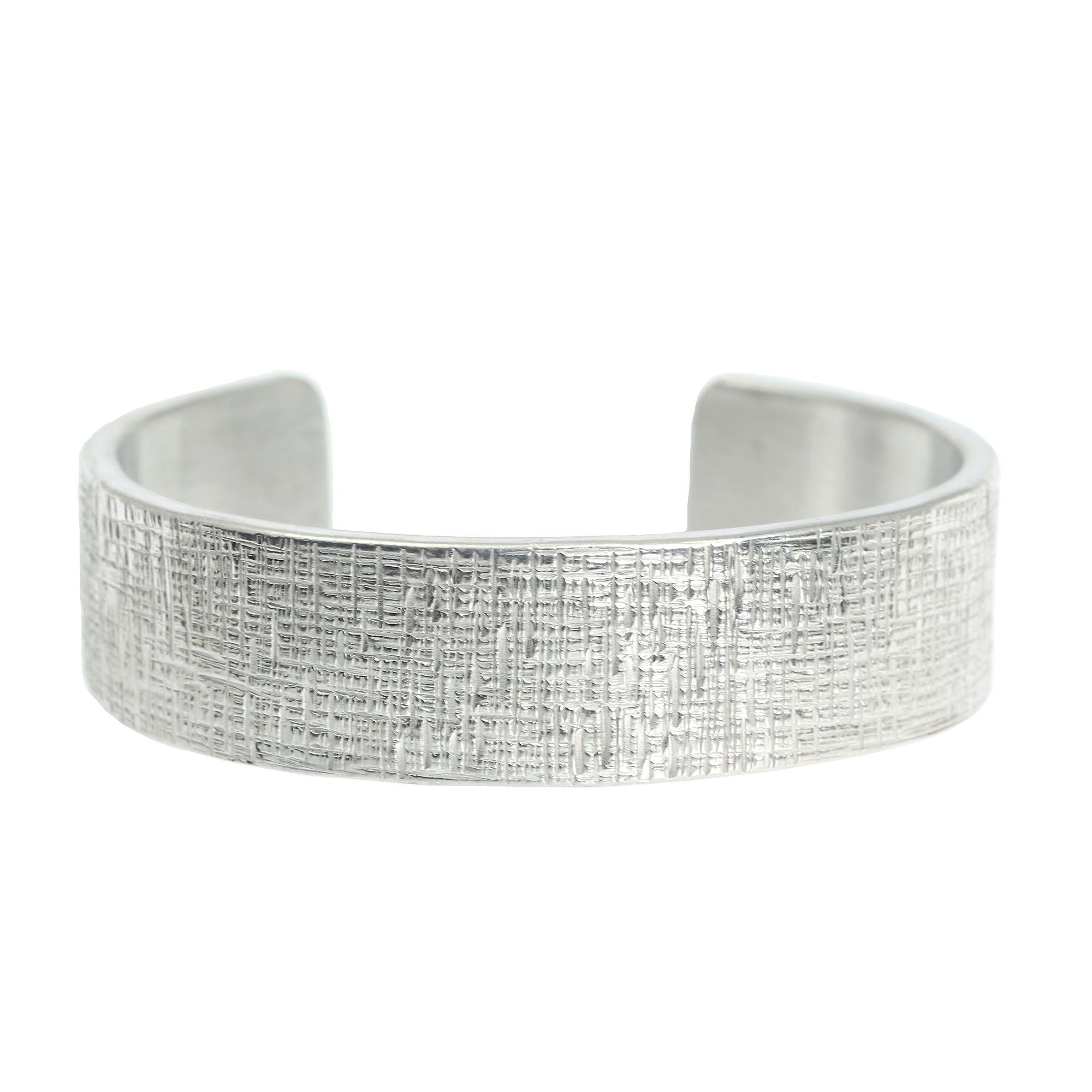 Over off elegant mm wide linen silver tone cuff bracelet shown