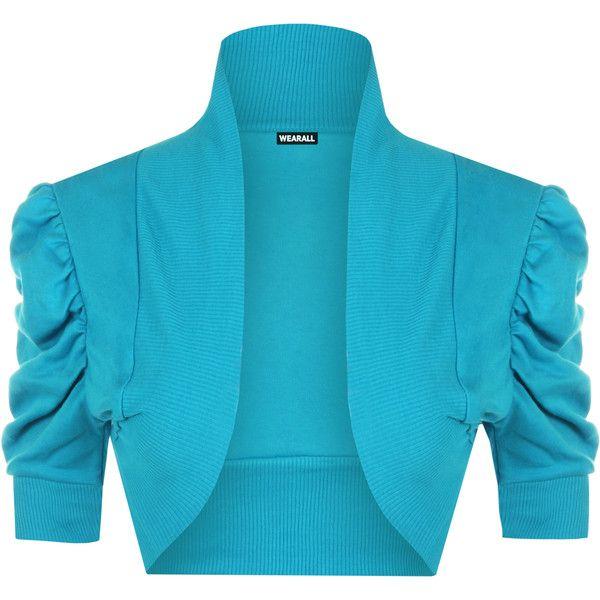 Shelly Plain Ruched Shrug (9.215 CLP) ❤ liked on Polyvore featuring plus size women's fashion, plus size clothing, plus size outerwear, bolero, turquoise, plus size shrugs, blue shrug, cardigan shrug and shrug cardigan