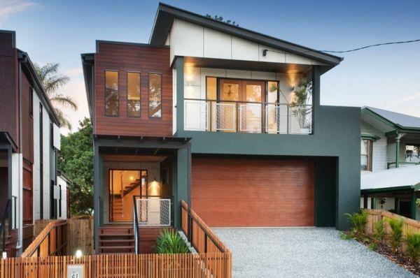Beautiful Materialmix Schrägdach Modernes Haus Mit Einem Exotischen Look  Hölzerne Struktur